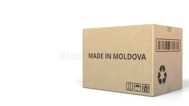 FAIT EN texte de MOLDAU sur un carton d'entrepôt rendu 3d illustration stock