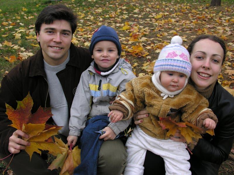 Fait face à la famille de quatre sur des lames d'érable photographie stock