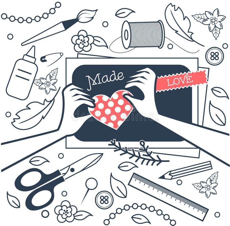 Fait main, atelier de métiers noir et blanc illustration libre de droits