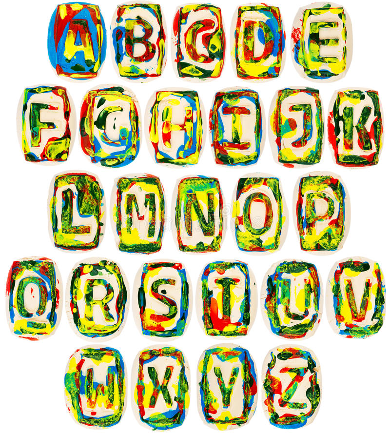 Fait main coloré de l'alphabet blanc d'argile illustration libre de droits