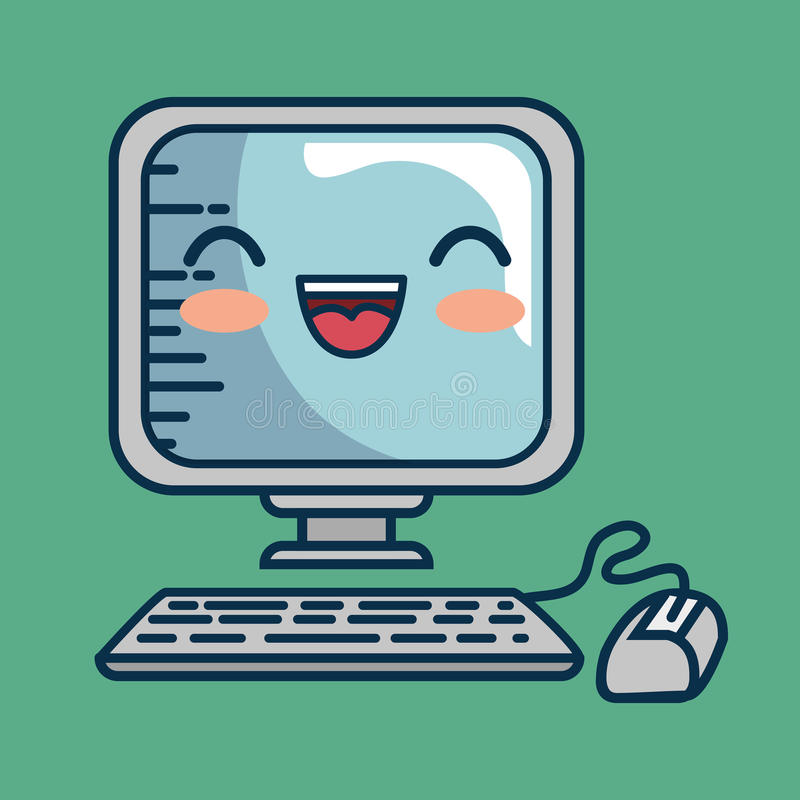 Download Fait Main De Bureau De Caractère D'ordinateur Dessiné Illustration de Vecteur - Illustration du conception, dispositif: 87702505