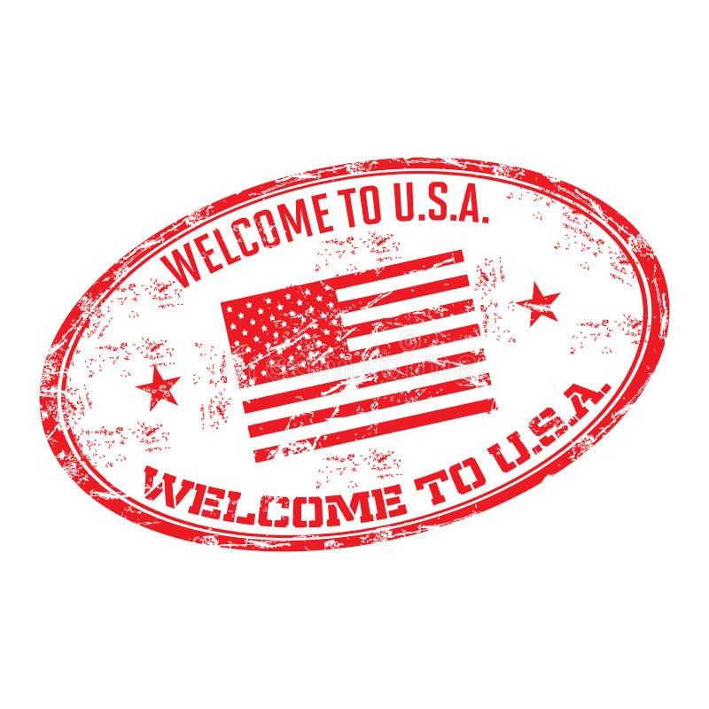 Faites bon accueil aux Etats-Unis au tampon en caoutchouc illustration de vecteur