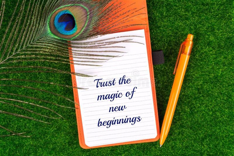 Faites confiance à la magie de nouveaux débuts images libres de droits