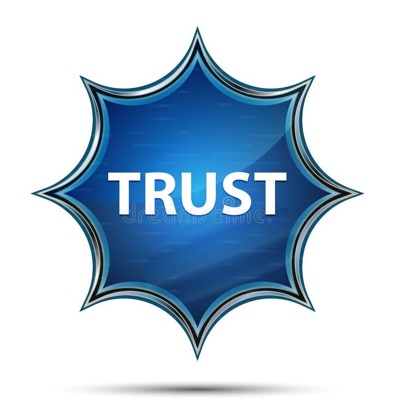 Faites confiance au bouton bleu de rayon de soleil vitreux magique illustration stock