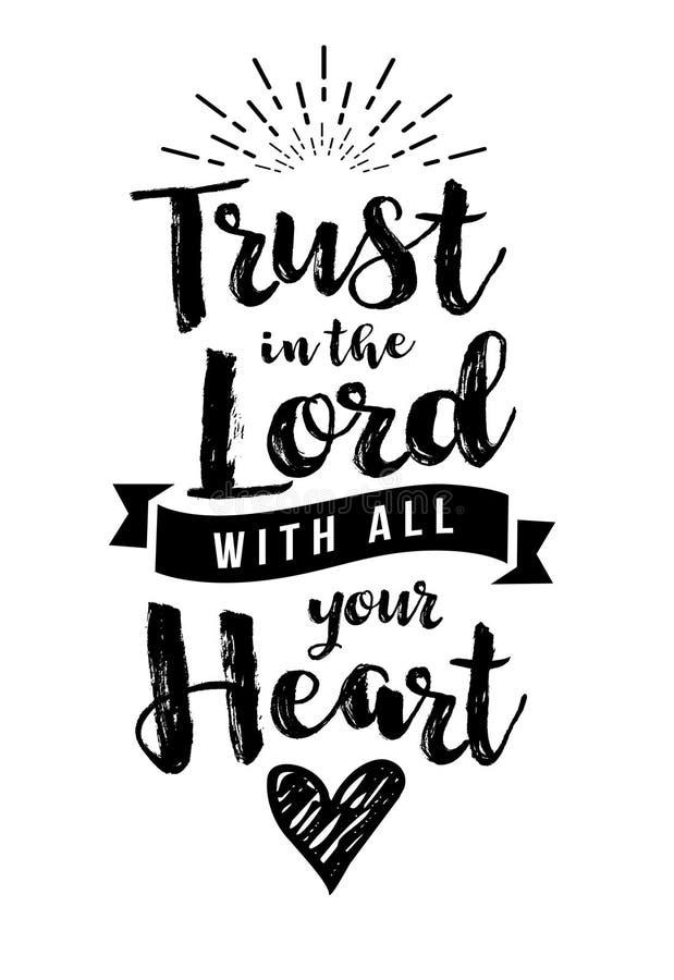 Faites confiance dans le seigneur avec tout votre emblème de coeur illustration stock