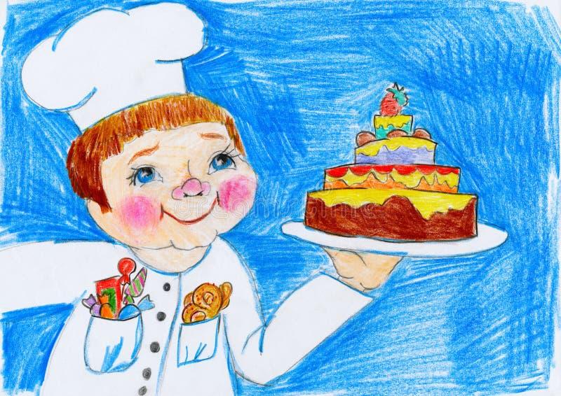 Faites cuire et durcissez, dessin d'enfant sur le concept de papier, d'anniversaire et de vacances illustration de vecteur
