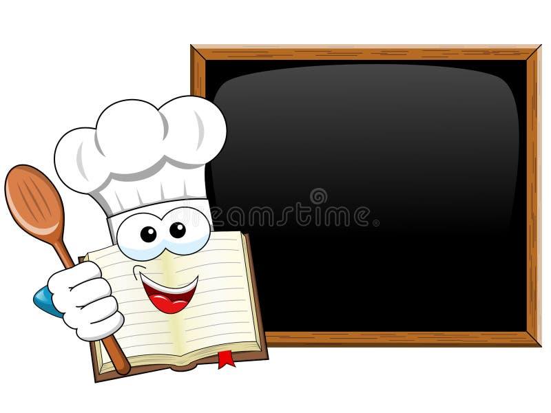 Faites cuire la cuillère en bois de mascotte de livre présentant l'isolat vide de tableau noir illustration stock