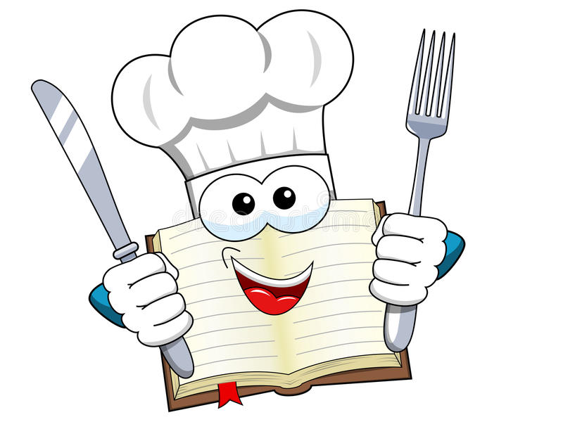 Faites cuire la fourchette et le couteau de chapeau de mascotte de livre d'isolement illustration libre de droits