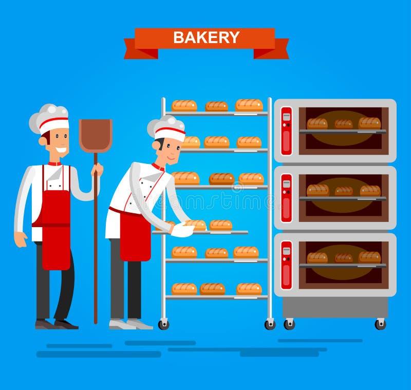 Faites cuire le boulanger faisant cuire le vec plat de conception de fond de boulangerie d'icône de pain illustration stock