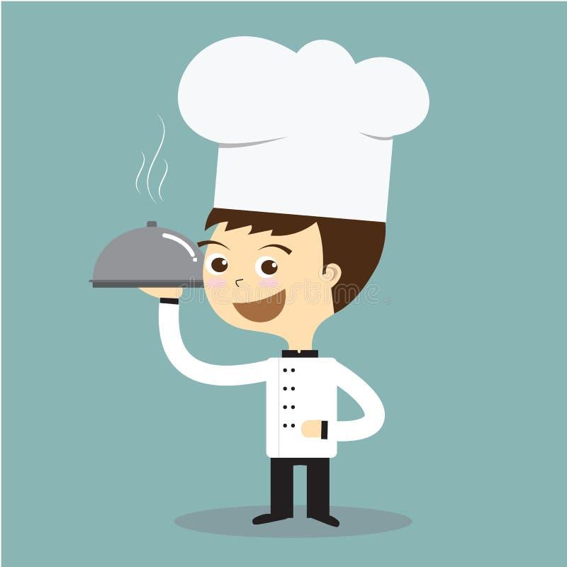 Faites cuire le chef tenant le plat chaud avec le vecteur de tabagisme illustration stock