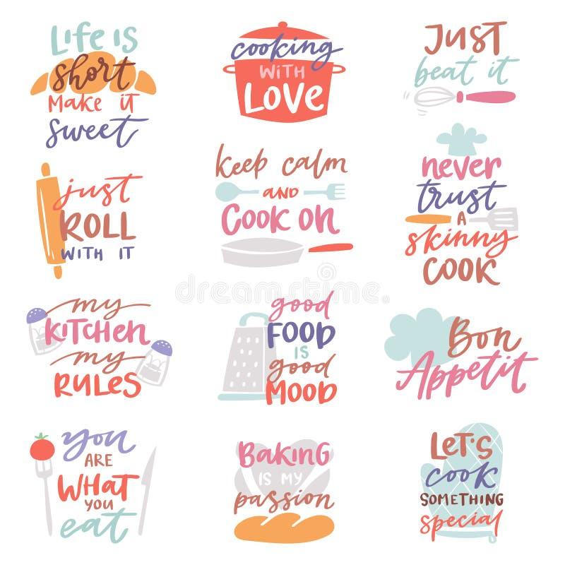 Faites cuire le lettrage de cuisson ou de boulangerie de vecteur de signe et le calibre de typographie de cuisine ou de cuisson p illustration de vecteur