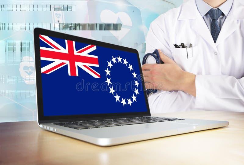 Faites cuire le système de santé d'Islands dans le thème de technologie Drapeau sur l'écran d'ordinateur Docteur se tenant avec l images libres de droits