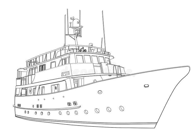 Faites de la navigation de plaisance le vecteur, bateau de silhouette de découpe sur le fond blanc, dessin noir et blanc pour liv illustration stock