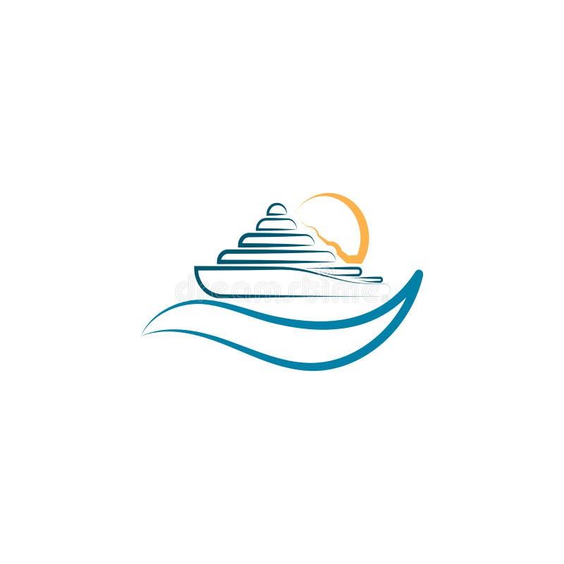 Faites de la navigation de plaisance l'illustration de vecteur de logo avec la vague de coucher du soleil et d'eau sur illustration stock