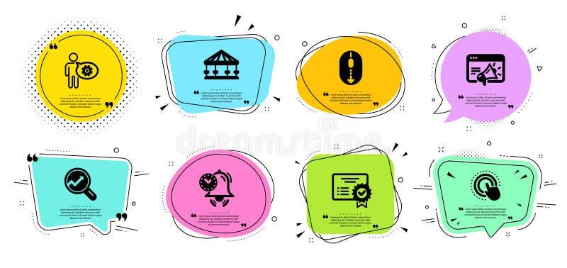 Faites descendre l'écran, ensemble d'icônes de roue dentée et de carrousels Vente de Seo, main de clic et signes de certificat Ve illustration de vecteur