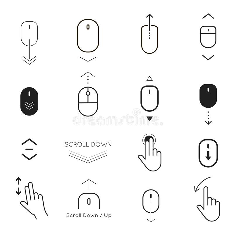 Faites descendre l'écran et bouton vers le haut d'ensemble d'icône illustration stock