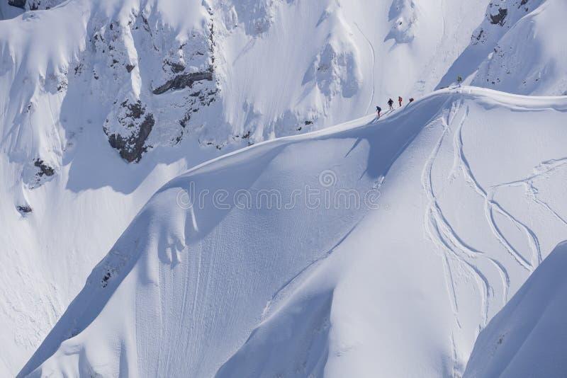 Faites du surf des neiges le freeride, les surfeurs et les voies sur une pente de montagne Sport d'hiver extrême images stock