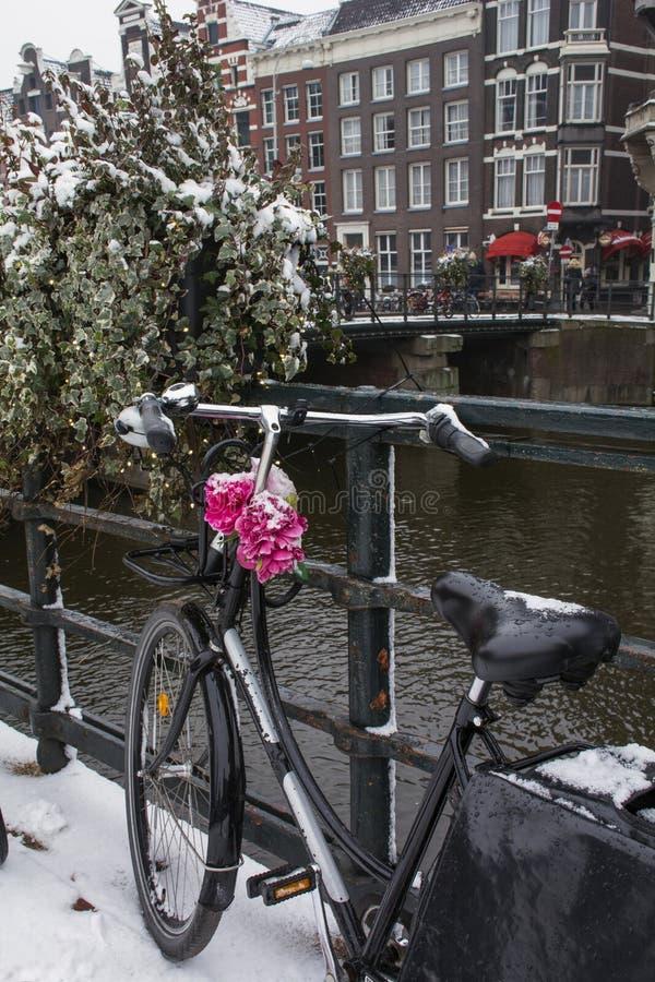 Faites du vélo avec les fleurs artificielles près du canal à Amsterdam en hiver images stock