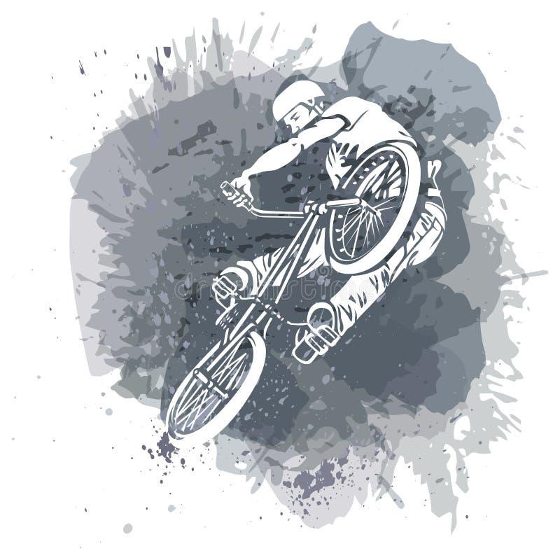 Faites du vélo le cavalier sautant sur un fond abstrait artistique illustration de vecteur