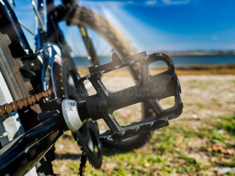 Faites du vélo le détail de pédale sur le hêtre avec des faisceaux du soleil photographie stock