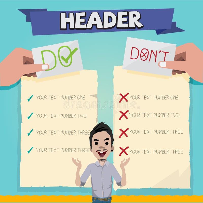 Faites et mettez le ` t avec la conception de personnages papier de liste - illus illustration stock
