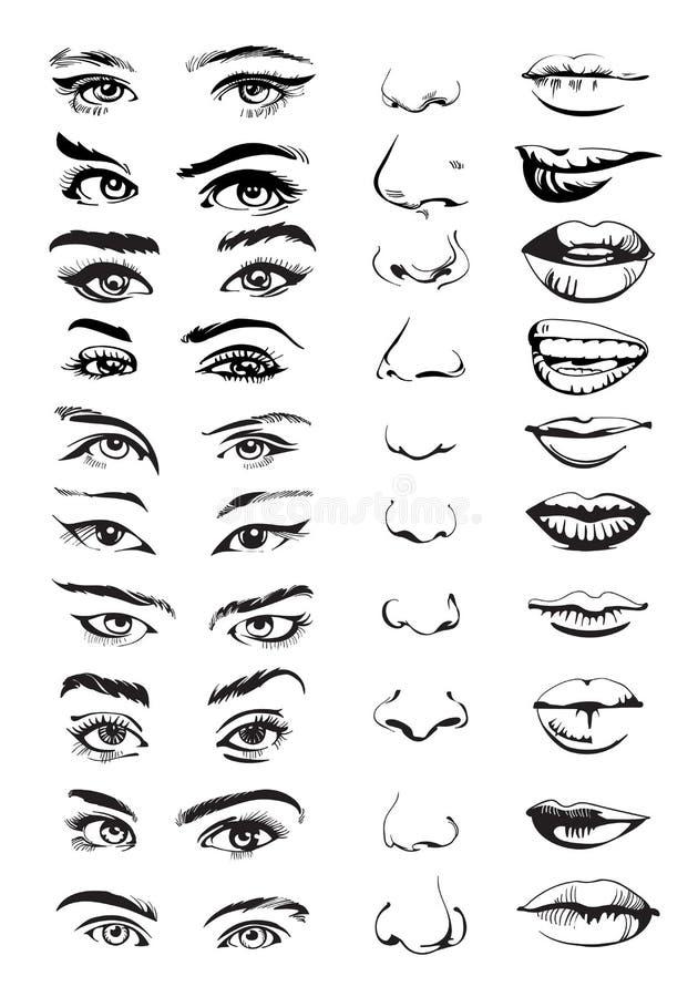 Faites face au constructeur avec des yeux, des lèvres et des nez Ensemble tiré par la main Illustration de vecteur images stock