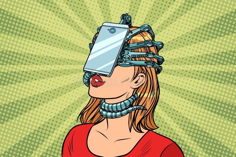 Faites face au parasite de smartphone d'identification, à la femme et à la dépendance d'Internet illustration stock