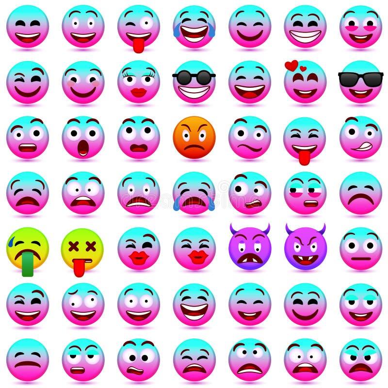 Faites face aux émotions Expression du visage Illustration de vecteur Smiley roses et bleus 2018 illustration stock