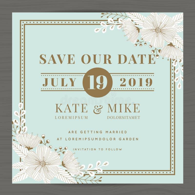 Faites gagner la date, épousant le calibre de carte d'invitation avec le fond floral de fleur tirée par la main Type de cru photos libres de droits