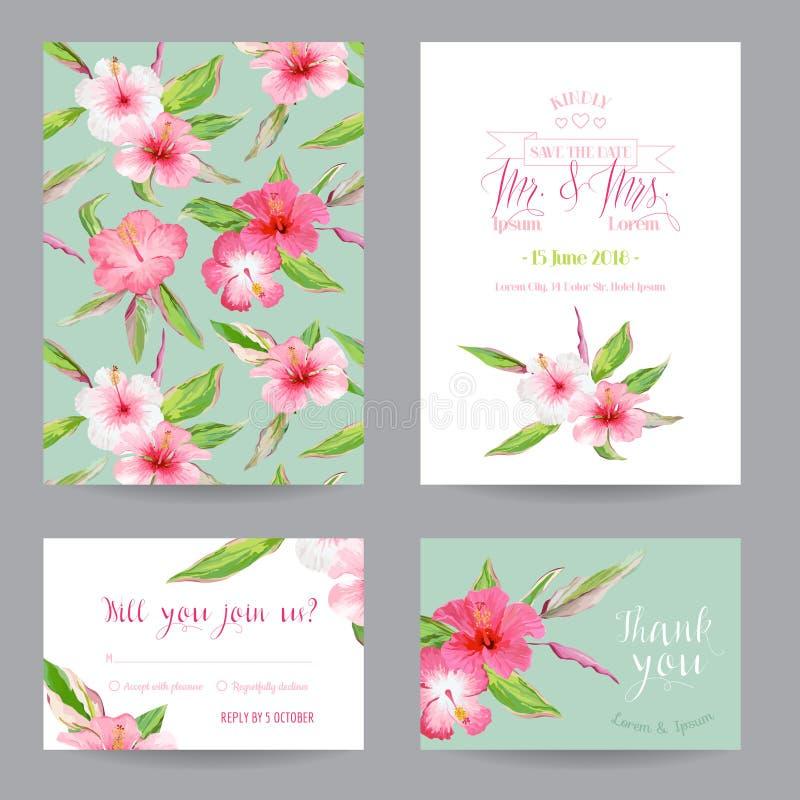 Faites gagner la date - des cartes en liasse d'invitation ou de félicitation de mariage illustration libre de droits