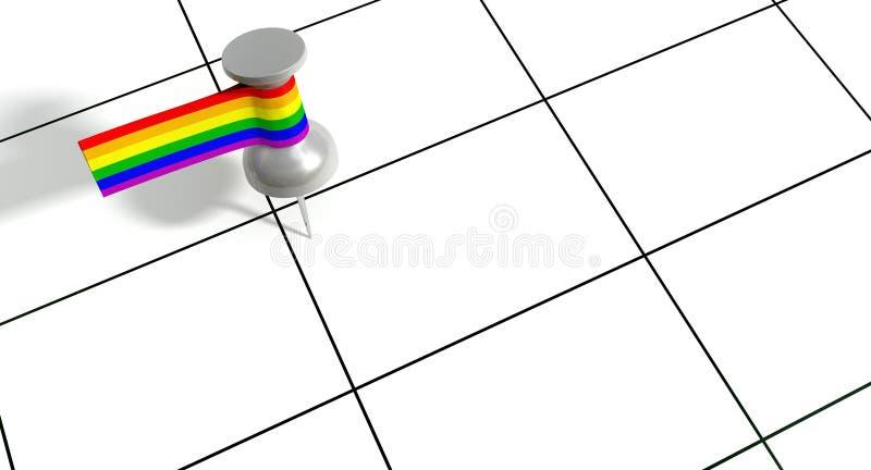 Faites gagner la date Pin With Gay Label illustration de vecteur