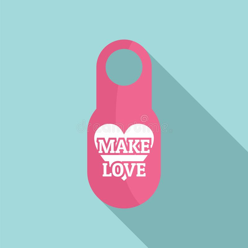 Faites l'icône d'étiquette de porte d'amour, style plat illustration de vecteur