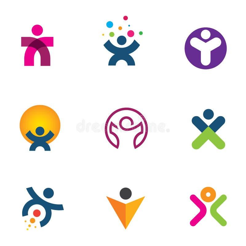 Faites l'impact créant l'innovation pour la réalisation de l'icône potentielle humaine de logo illustration stock