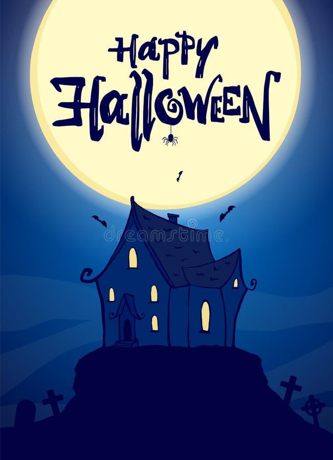 Faites la fête l'affiche avec la maison et le lettrage hantés tirés par la main de Halloween heureux sur le fond de lune d'imbéci illustration stock