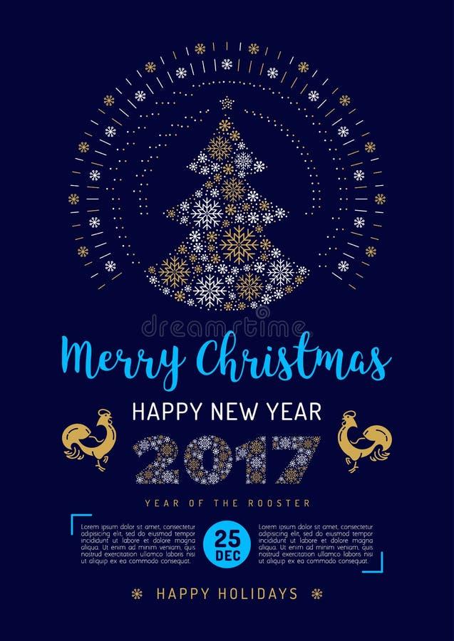 Faites la fête l'insecte de Noël, la nouvelle année 2017, coq chinois d'affiche de zodiaque, illustration libre de droits