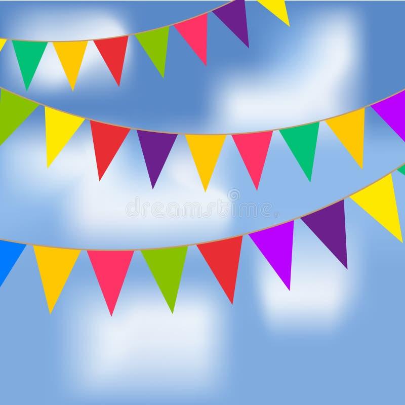 Faites la fête les drapeaux avec le ciel bleu et les nuages blancs illustration libre de droits