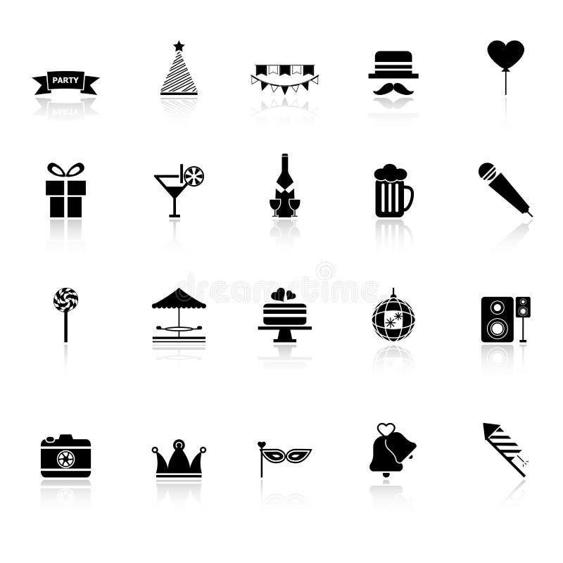 Faites la fête les icônes de temps avec réfléchissent sur le fond blanc illustration stock