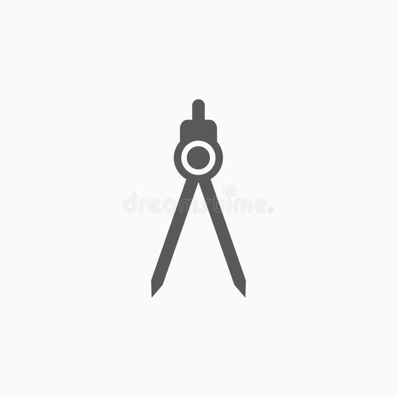 Faites le tour de l'icône, diviseur, stationnaire, éducation illustration stock