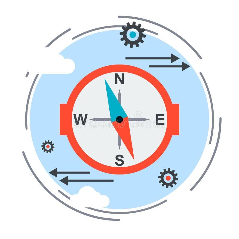 Faites le tour du signe, icône de guide, concept de choix de stratégie illustration de vecteur