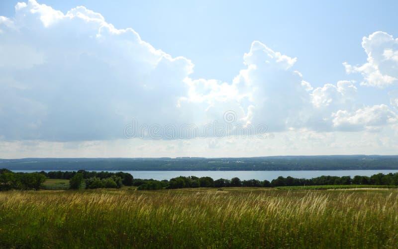 Faites les foins le champ donnant sur Seneca Lake le plus grand lac finger photos stock