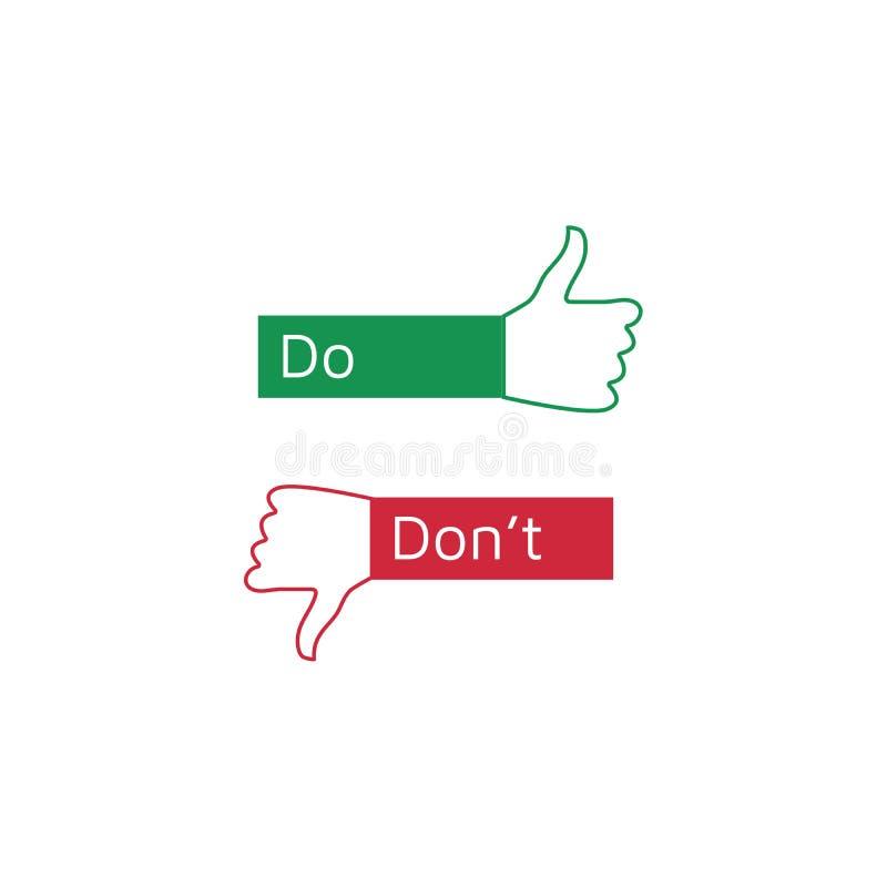 Faites les solides totaux du ` s et du ` de Don comme des pouces en haut ou en bas Pouce simple plat vers le haut de symbole, d'? illustration de vecteur