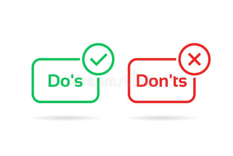 Faites s et mettez les solides totaux rouges et l'insigne vert illustration stock