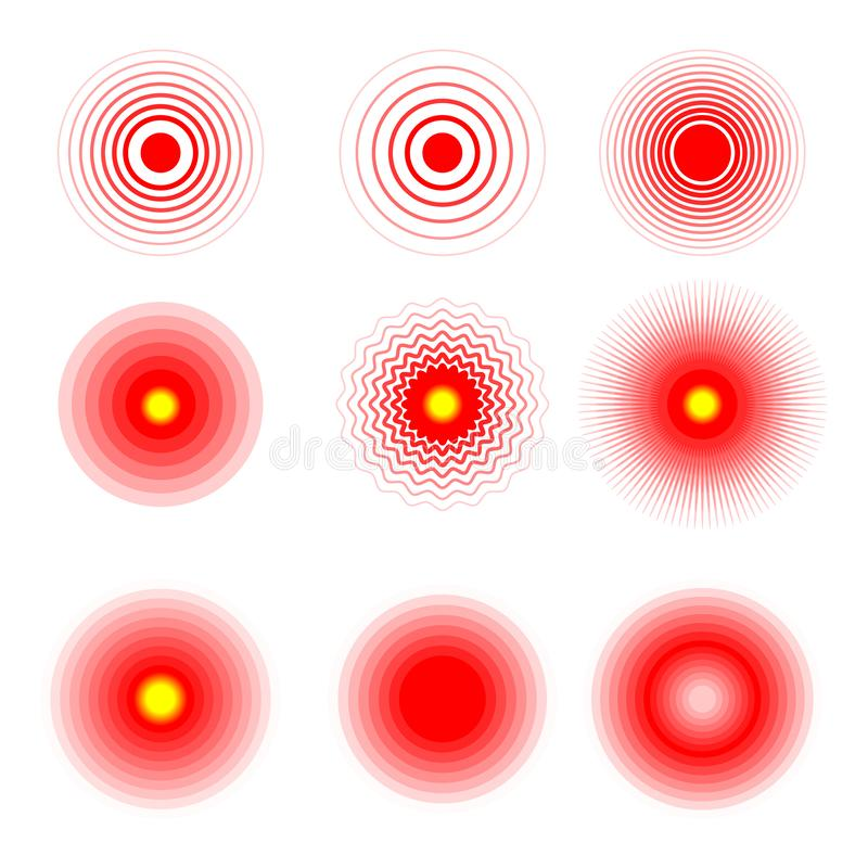 Faites souffrir les anneaux rouges pour marquer les parties du corps douloureuses de femme et d'homme, le cou, les os, le muscle  illustration de vecteur