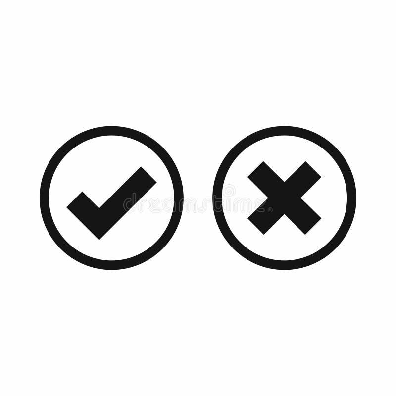 Faites tic tac et croisez l'icône de sélection, style simple illustration de vecteur