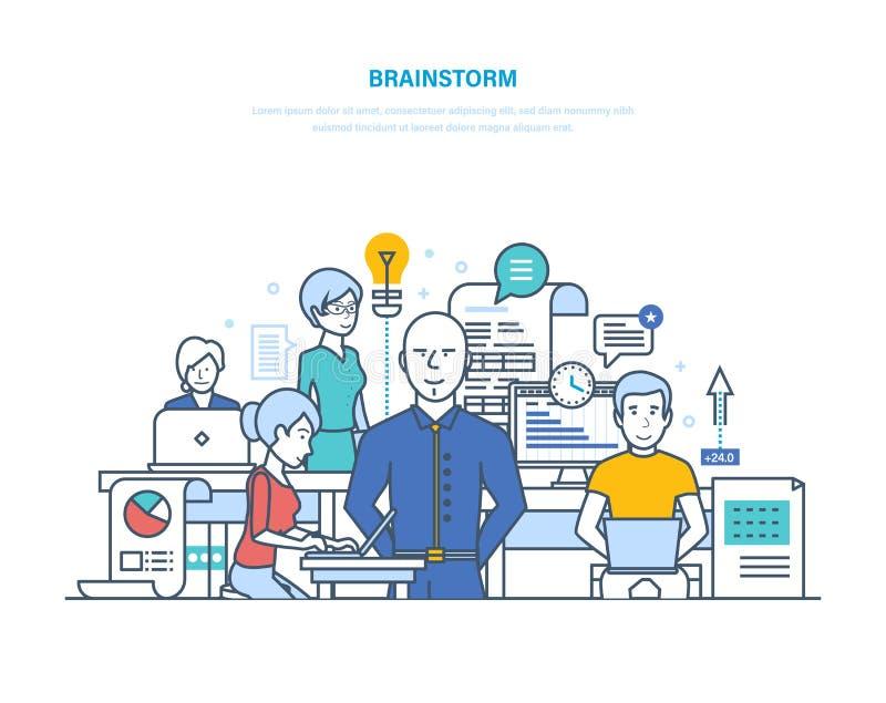 Faites un brainstorm, de grandes idées, solutions, pensée créative créative créative, démarrage illustration de vecteur