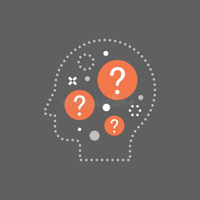 Faites un brainstorm le concept, prise de d?cision, choix difficile, dilemme moral, penseur de philosophie, la science de comporte illustration libre de droits