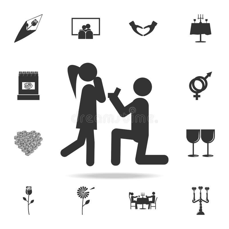 Faites une icône de proposition de mariage Ensemble détaillé de signes et éléments des icônes d'amour Conception graphique de qua illustration stock