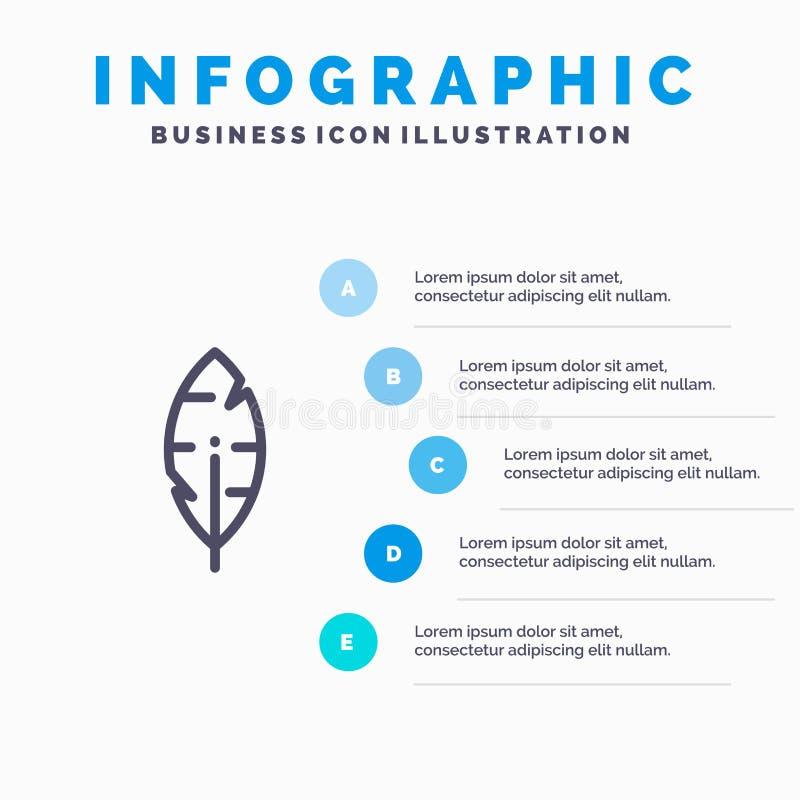 Faites varier le pas, encrez, écrivez à calibre bleu d'Infographics de 5 étapes Ligne calibre de vecteur d'ic?ne illustration libre de droits