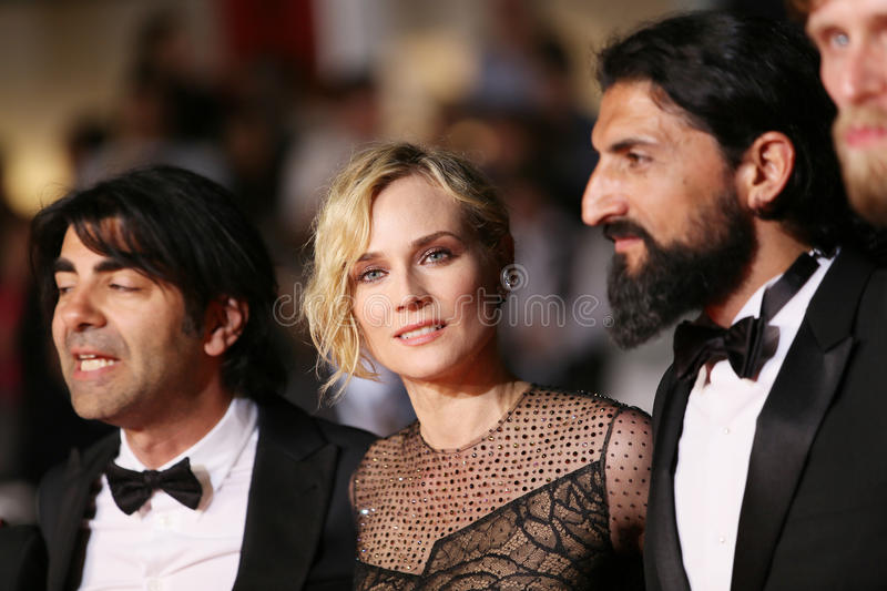 Faith Akin, Diane Kruger, Numan Acar. Attend the `In The Fade Aus Dem Nichts` premiere during the 70th Cannes Film Festival at Palais des Festivals on May 26 royalty free stock image