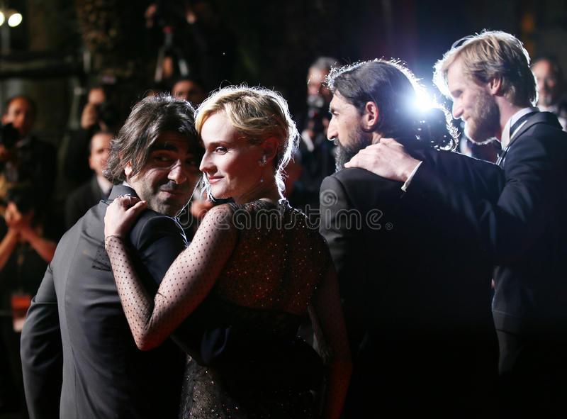 Faith Akin, Diane Kruger, Numan Acar and Ulrich Brandhoff. Attend the `In The Fade Aus Dem Nichts` premiere during the 70th Cannes Film Festival at Palais on stock photography